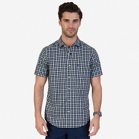 Classic Fit Wrinkle Resistant Seashore Plaid Short Sleeve Shirt - True Black