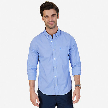 Slim Fit Wrinkle Resistant Micro Check Shirt - French Blue