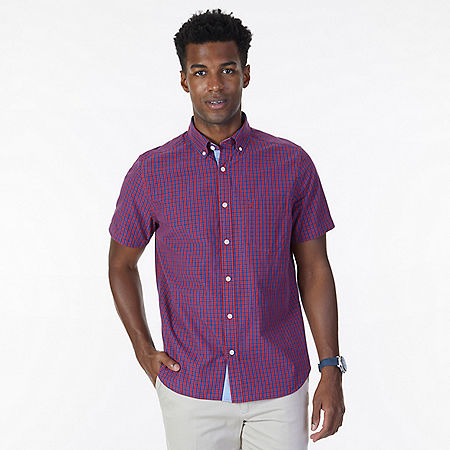 Classic Fit Nautica Red Plaid Short Sleeve Shirt - Nautica Red