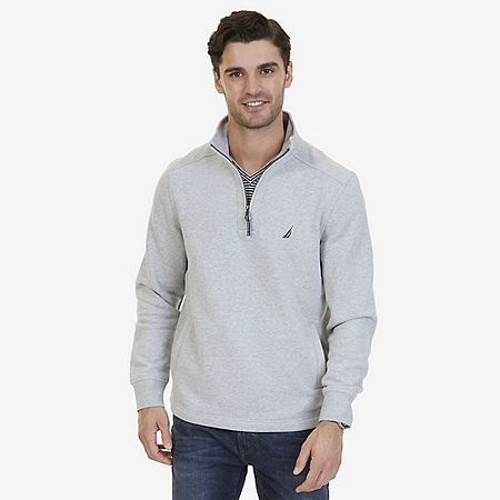 Nautica Big & Tall Quarter Zip Pullover - Grey Heather