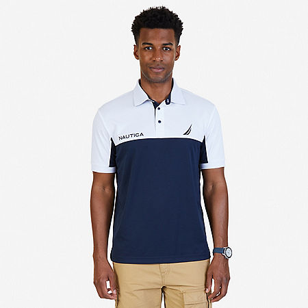 Classic Fit Color Blocked Performance Polo Shirt - Navy