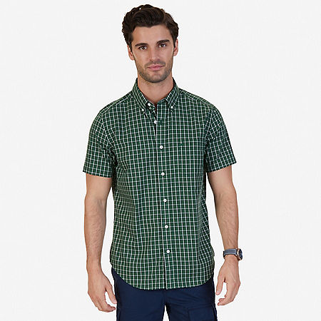 Classic Fit Wrinkle Resistant Pacific Plaid Short Sleeve Shirt - Forest