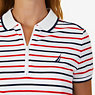 Striped Zip Polo Shirt,Bright White,small