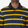 Classic Fit Striped Long Sleeve Polo Shirt,Yellow,small