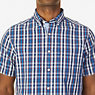 Classic Fit Navy Plaid Short Sleeve Shirt,J Navy,small