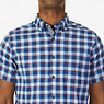 Classic Fit Navy Plaid Short Sleeve Shirt,Monaco Blue,small