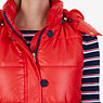 Faux Fur Hooded Puffer Vest,Red,small