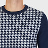 Houndstooth Crew Sweater,Navy,small