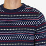 Fair Isle Crew Sweater,Navy,small