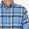 Classic Fit Plaid Flannel Button-Down Shirt,Riviera Blue,small