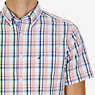 Madras Plaid Classic Fit Short Sleeve Button Down Shirt,Orange,small
