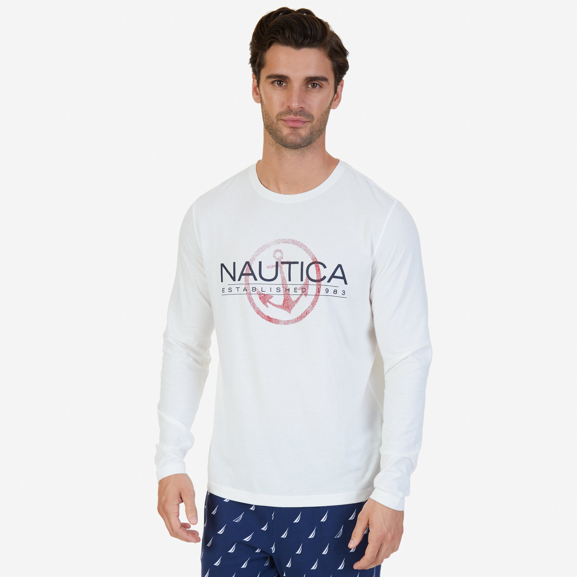 Nautica mens slim fit long sleeve logo sleep t shirt ebay for Mens slim fit long sleeve t shirts