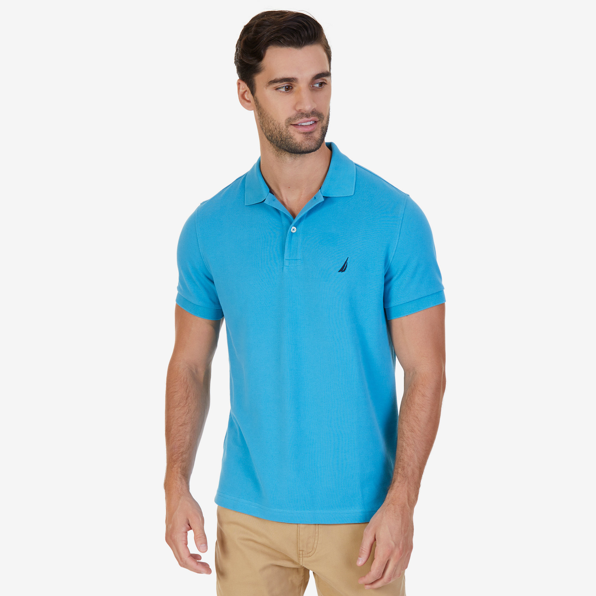 Nautica mens slim fit deck polo shirt picclick for Men slim fit shirts