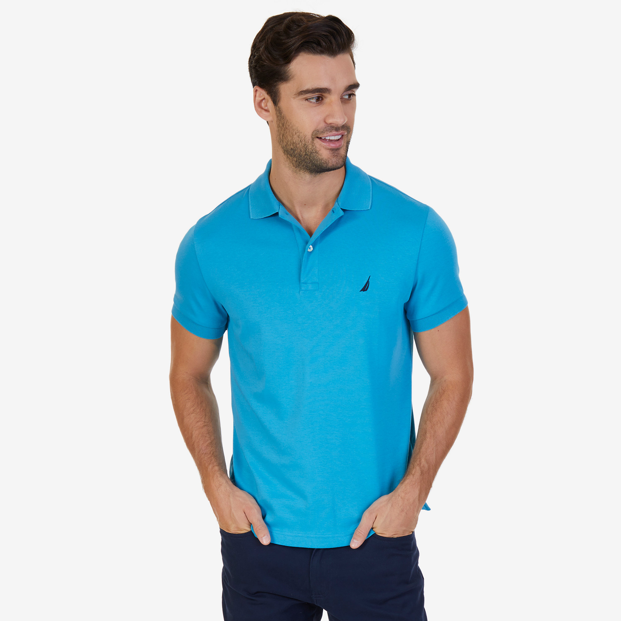 Nautica mens slim fit interlock polo shirt for Mens slim polo shirts