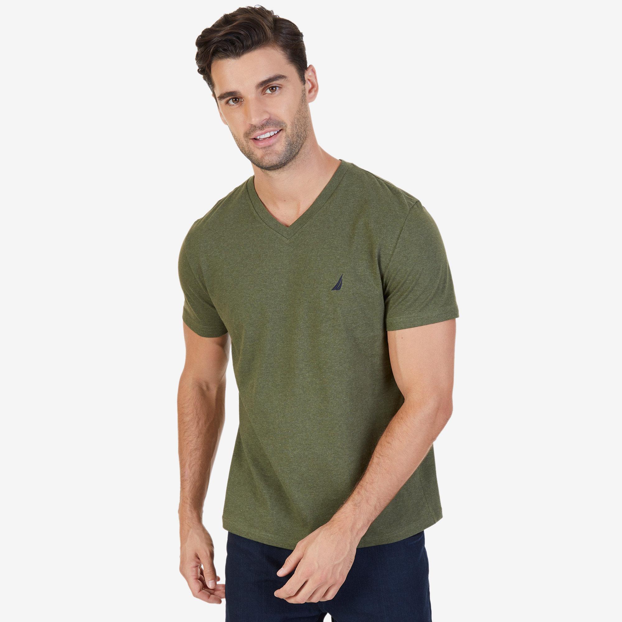 d80b1869 NAUTICA MENS SOLID V-Neck Slim Fit T-Shirt - $10.19 | PicClick