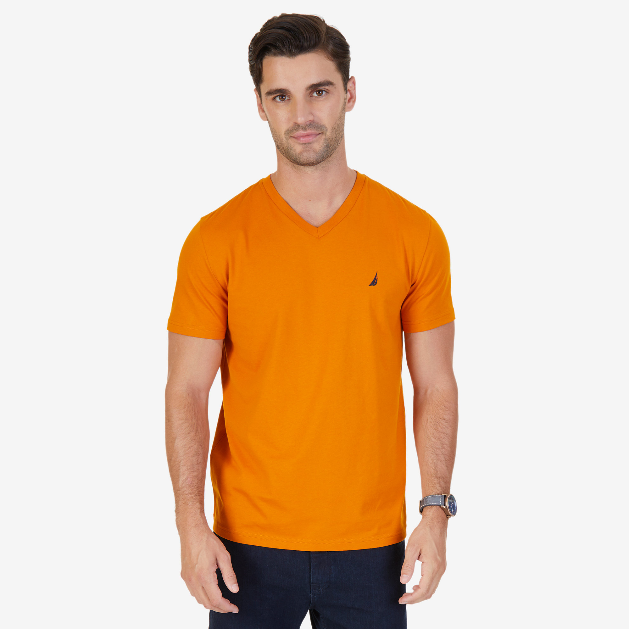 Nautica mens solid v neck slim fit t shirt ebay for Mens slim hawaiian shirt