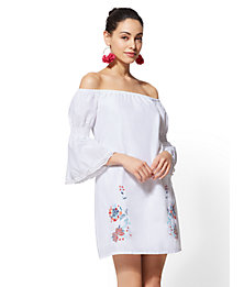 Womens White Embroidered Off The Shoulder Shift Dress