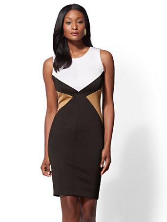 7th Avenue - Black Colorblock Sheath Dress | Tuggl