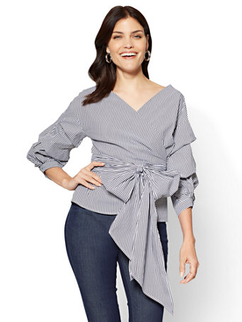 Ny Amp C 7th Avenue Ruffle Sleeve Wrap Shirt Stripe