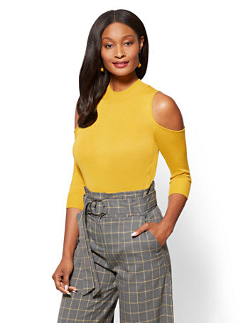 New York & Company 7th Avenue Cold-Shoulder Mock-Neck Sweater