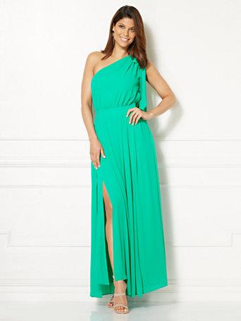 One Shoulder Blue Gown