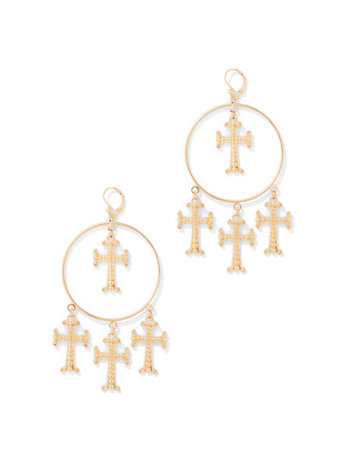 NY&C Goldtone Cross Hoop Drop Earring