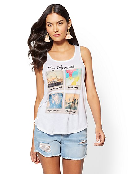 """My Memories"" Graphic Logo Tank Top - New York & Company"