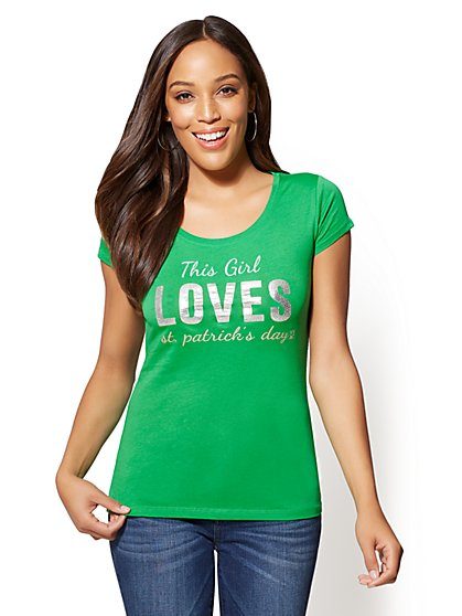 """This Girl Loves St. Patrick's Day"" Graphic Logo Tee - New York & Company"