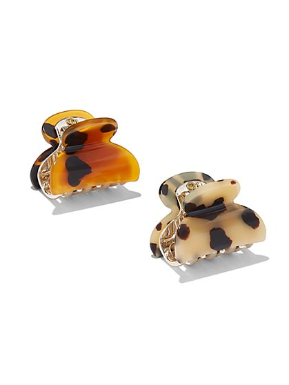 2-Piece Faux-Tortoise Hair Clip Set - New York & Company