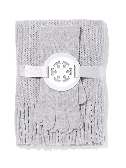 2-Piece Honeycomb Scarf & Gloves Set - New York & Company