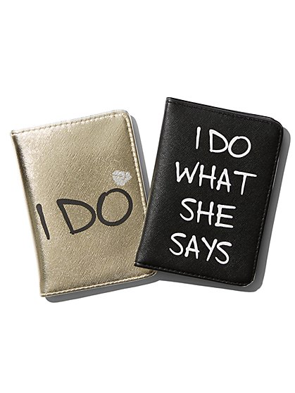 "2-Piece ""I Do"" His & Hers Passport Case Set - New York & Company"