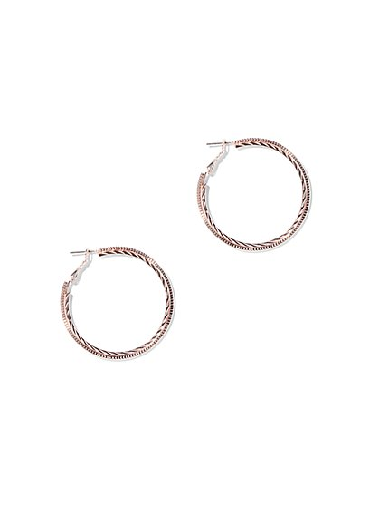 2-Row Textured Hoop Earring - New York & Company