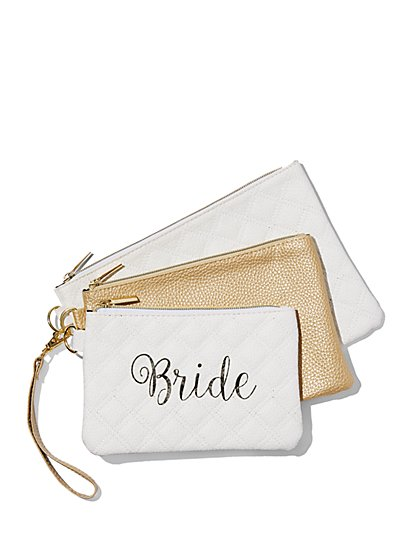"3-Piece ""Bride"" Pouch Set - New York & Company"
