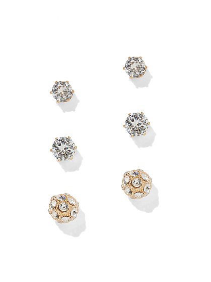 3-Piece CZ Post Earring Set - New York & Company