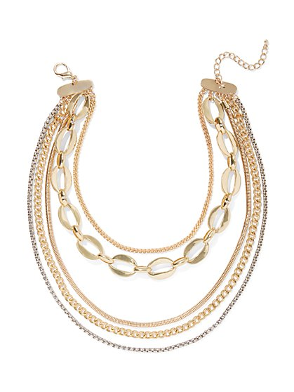 5-Row Chain-Link Necklace - New York & Company