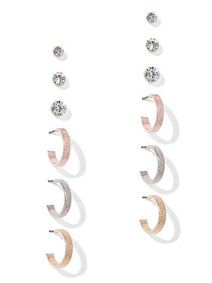 6-Piece Glittering Post & Hoop Earrings - New York & Company
