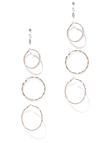 6-Piece Goldtone Post & Hoop Earring Set - New York & Company