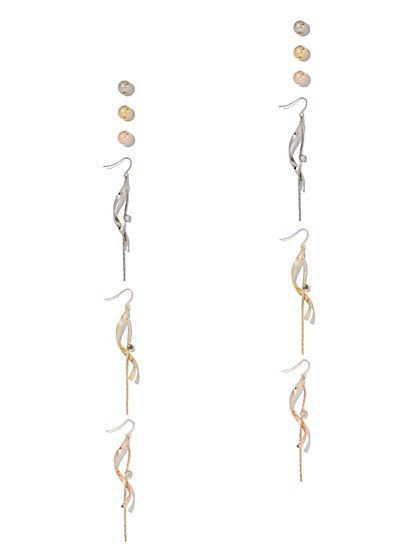 6-Piece Post & Linear Drop Earring Set - New York & Company