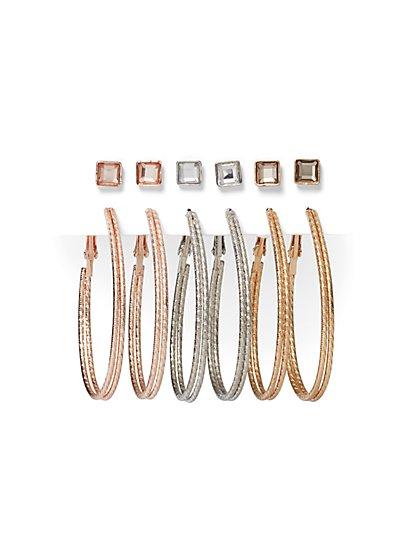 6-Piece Post & Oval Hoop Earring Set - New York & Company