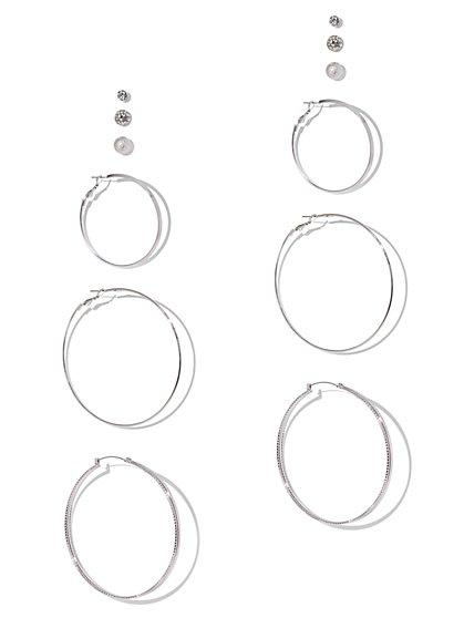 6-Piece Silvertone Hoop & Post Earring Set - New York & Company
