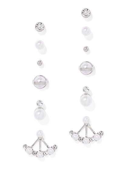 6-Piece Silvertone Post Earring Set - New York & Company
