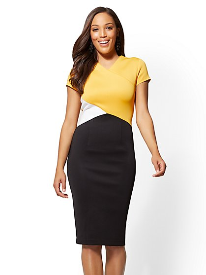 7th Avenue - Asymmetrical Colorblock V-Neck Sheath Dress - New York & Company