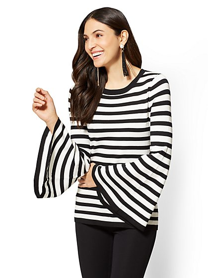 7th Avenue - Bell-Sleeve Sweater - Stripe - New York & Company