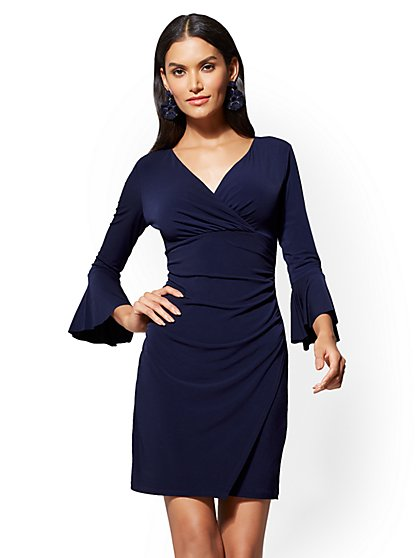 7th Avenue Bell-Sleeve Wrap Dress - New York & Company