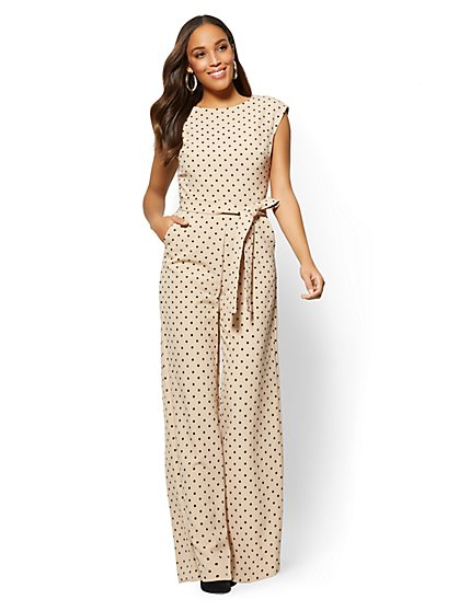 7th Avenue Belted Jumpsuit - Dot Print - New York & Company