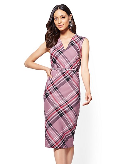 7th Avenue - Belted Sheath Dress - Pink Plaid - New York & Company