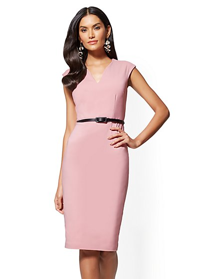 7th Avenue Belted Split-Neck Sheath Dress - All-Season Stretch - New York & Company