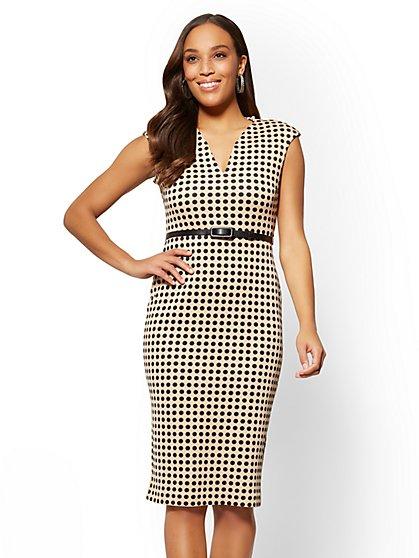 7th Avenue - Belted Split-Neck Sheath Dress - Dot Print - New York & Company