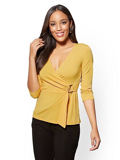 7th Avenue - Belted V-Neck Wrap Top - New York & Company