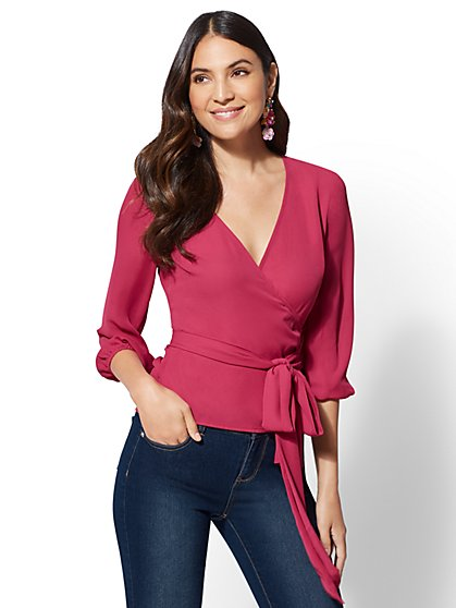 7th Avenue - Belted Wrap Blouse - New York & Company